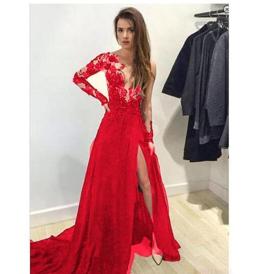 Long Sleeves See through Red Lace Evening Dresses Sexy Slit Formal Prom Gown  cg7451