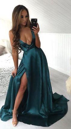 Sexy deep v neck prom dresses evening dresses, simple teal prom dresses with side slit  cg7463