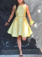 Yellow Satin Two Piece Charming Homecoming Dresses cg747