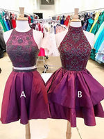 Burgundy Elastic Satin Beading Mismatched Sleeveless Homecoming Dresses cg748