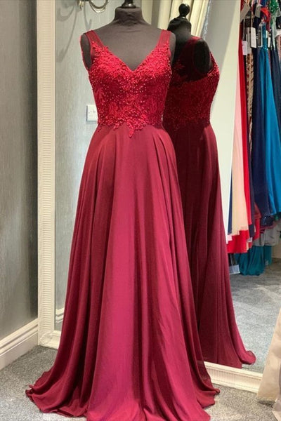red long prom dress, simple prom dress 2020  cg7496