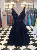 Dark Navy Lace Beading Sleeveless Illusion Homecoming Dresses cg749