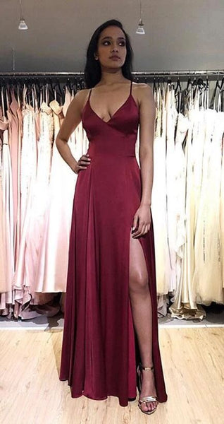 Sexy A line Long Prom Dress with Slit,Fashion School Dance Dress,Winter Formal Dress  cg7530