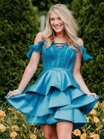 Ice Blue Off Shoudler Lace Satin Charming Homecoming Dresses cg753