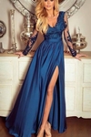 Long Sleeves V Neck Blue Lace Prom Dresses, Long Sleeves Blue Lace Formal Evening Dresses  cg7544