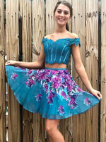Turquoise Off Shoulder Beading Lace Floral Homecoming Dresses cg754