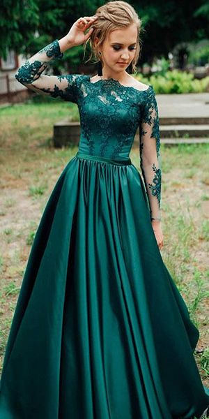 Gorgeous Dark Green Long Sleeves Lace Prom Dress Green Evening Dress Formal Dress   cg7565