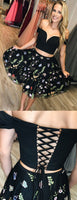 Black Two Piece Off Shoulder Embroidery Homecoming Dresses cg759