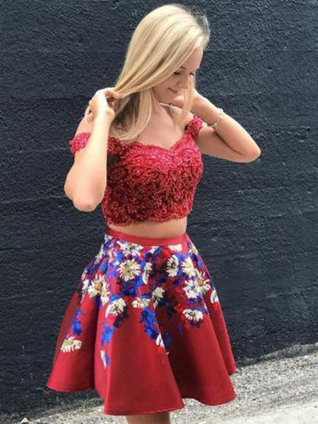 Two Piece Red Off Shoulder Beading Floral Homecoming Dresses cg760