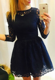 A-Line Bateau 3/4 Sleeves Navy Blue lace Homecoming Dress cg766