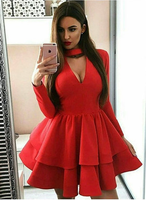 A-Line Long Sleeve Red Homecoming Dress with Ruffles cg768