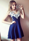 A-Line Sleeveless Blue Homecoming Dress with Appliques cg769