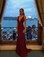 Sexy Slit Evening Dress,Open Back Burgundy Party prom Dresses  cg7708