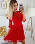 A-Line Round Neck 3/4 Sleeves Red Lace Short Homecoming Dresses cg770