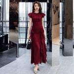 Wine red evening dress mermaid prom dress new style party dress sleeveless formal dress  cg7718
