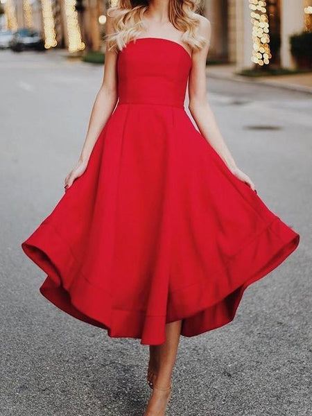 Sexy Red Sleeveless Skater Dress Maxi Dress prom Evening Dress  cg7719