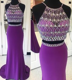 2 Pieces Long Prom Dresses Beaded Evening Dresses Mermaid Formal Dresses  cg7745