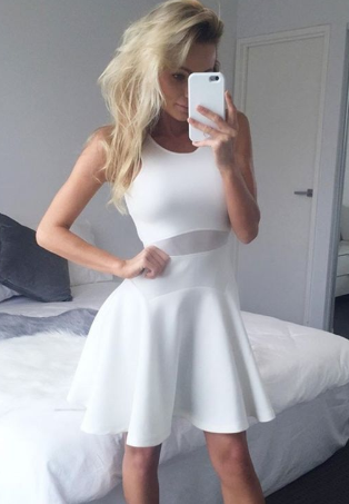 A-Line Crew Sleeveless Above-Knee White Homecoming Dress cg774