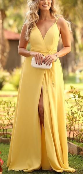 Yellow Spaghetti Strap V-neck With Belt Sexy prom Dresses  cg7757