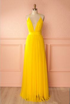 Yellow A Line Tulle Prom Dress,Long Evening Dress,Spaghetti Strap Formal Dresses  cg7758