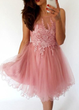 A-Line Illusion Neck Knee-Length Homecoming Dress with Appliques cg777