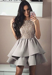 A-Line Sleeveless Gray Homecoming Dress with Appliques cg778