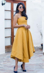 A-Line Strapless Asymmetrical Yellow Homecoming dress cg779