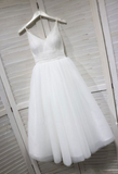 A-Line Spaghetti Straps White Homecoming Dress cg780