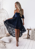 Sheath High Neck Sleeveless Navy Blue Knee-Length Lace Homecoming/Party Dress cg781