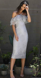 Sheath Off-the-Shoulder Grey Lace homecoming dress , Party Bridesmaid Dress with Ruffles cg782