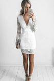 Homecoming Dress White V-neck Lace Sheath Short White Cocktail Dress With Long Sleeves cg784