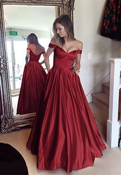 A-line Off the shoulder Long Prom Dresses Cheap Simple Prom Dress  cg7875