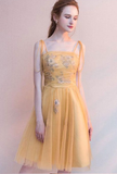 Simple yellow tulle short homecoming dress, yellow homecoming dress cg787