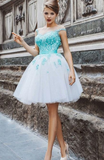 A-Line Illusion Cap Sleeves Keyhole Back Lace Up White Tulle Homecoming Dress with Green Appliques cg790