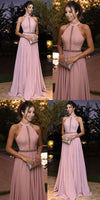 Generous Pink Prom Dress, Round Neck Long Party Dress, Chiffon Evening Dress cg798