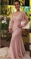 Shiny Sequined Mermaid Dresses Party Evening With Long Sleeves Sheer Bateau Neck Bead Prom Gowns Floor Length New Formal Dress cg799