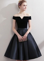 Black satin short homecoming dress, black homecoming dress cg802
