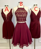 Two Piece Square Knee-Length Burgundy Homecoming Dress with Lace cg804