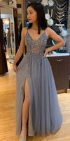 A Line Spaghetti Straps Grey Tulle Prom Dress With Beading Split  cg8061