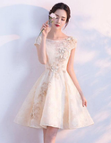 Champagne lace short homecoming dress, champagne homecoming dress cg806