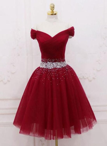 Burgundy tulle sequin off shoulder short dress. homecoming dress cg80