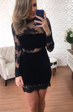 Black Lace Sheath Long Sleeve See Through Homecoming Dresses cg811