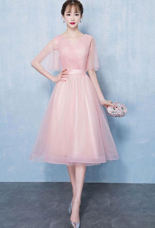 Simple v neck tulle short homecoming dress, pink tulle homecoming dress  cg812