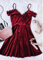 Burgundy Spaghetti Short Dress,Chic Evening Dress,Fashion Homecoming Dress,Party Dress cg815