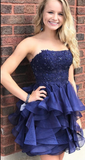 Short Navy Blue Homecoming Dress, Strapless Homecoming Dress cg818