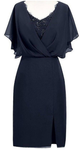 Sheath V-Neck Short Navy Blue Chiffon Mother of the Bride homecoming Dress with Beading cg821