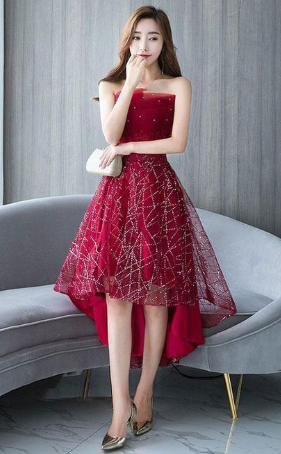 Burgundy tulle lace short dress, burgundy lace homecoming dress cg824