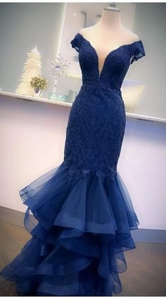 Mermaid Prom Dress,Navy Blue Evening Dress,Fashion Off Shoulder Sleeve Prom Dress  cg8259