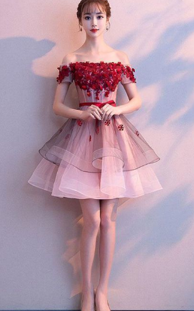 Pink tulle lace short dress, pink tulle homecoming dress cg825