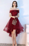 Burgundy tulle lace short dress, burgundy tulle evening homecoming dress cg826